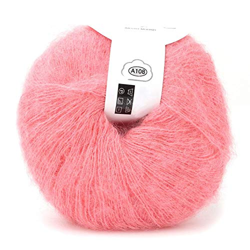 26 g/rollo de hilo de lana largo de angora de punto suave de mohair para tejido de bufanda de chal ligero hecho a mano con un ganchillo(Rosa brillante)