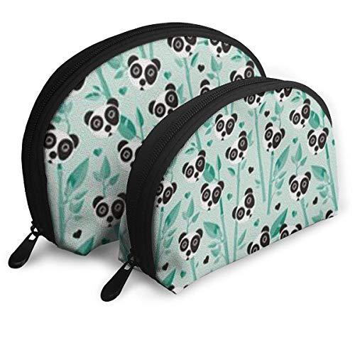 Make-Up Bag Bamboo and Panda Travel Makeup Pencil Pen Case Multifunction Storage Portable - 2 Piece Set
