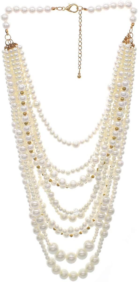 Utop JNF Multi Strand Pearl Necklace for Women Bridal Wedding Pearl Statement Necklace Costume Pearls Necklaces for Ladies Party