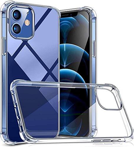 HUSHCO Funda iPhone 12 iPhone 12 Pro Carcasa Silicona Suave TPU Gel Bumper Case Cover de Protección Antideslizante [Anti-Rasguño] [Anti-Golpes] Caso Transparente