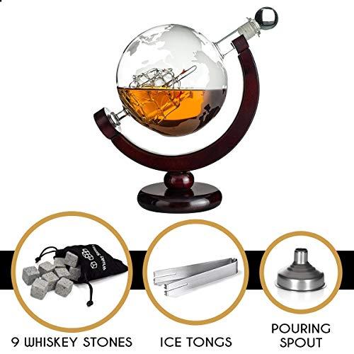Whisiskey® Whiskey Karaffe - Globus - Whisky Karaffe Set - 900 ml - Geschenk für Männer und Frauen - Inkl. 9 Whisky-Steine und Schenktülle - 5