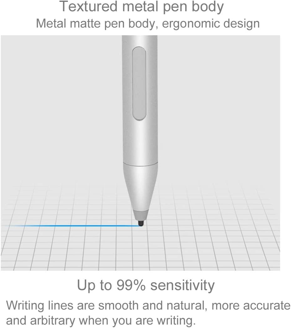 WMC0035 WMC9562B Tablet PC MOBILL Touch Screen Stylus Pen 1024 Levels of Pressure Sensitivity Dual-chip Metal Body Active Stylus Pen with Auto Sleep Function for CHUWI Hi13 /& Hi9 Plus Silver