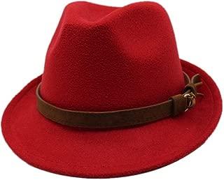 MZHHAOAN Jazz Hats Felt Fedora Hat with Belt Baker hat