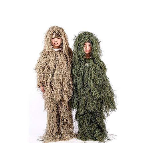 Heman779t Ghillie Anzug, Outdoor Kinder 3D Blätter Camouflage Poncho Camo Cape Mantel Stealth Ghillie Anzug Military CS Woodland Jagdbekleidung Einschließlich Jacke, Hose (Color : Green)