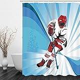 3D Wasserdicht Duschvorhänge Ski,Duschvorhänge Waschbar ,100prozent Polyester,Wasserdicht Vorhang an Badewanne Antibakteriell, 180 x 180cm