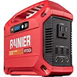 Rainier Outdoor Power Equipment R150i Portable Power Station 155 Wh Backup Lithium Battery, 110V/100W AC Outlet, Solar Generator (Solar Panel Not Included)