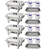 Chafing Dish Buffet Set — Water Pan + Food Pan (8 qt) + Frame + 2 Fuel Holders - Stainless-Steel Warmer Kit 4 Pack