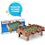 COSTWAY 27'' Football Table Top, Football Soccer Game Toy Set with Wooden Frame for Kids, Family and Party (27'' Football Table Top)