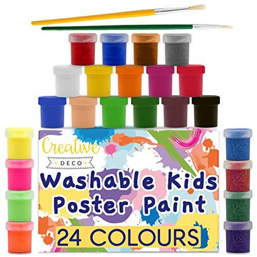 Creative Deco Temperas Pintura Lavable para Niños Bebes | 24 x 20 ml Botes | No Tóxica | Colores: Básicos Fluorescentes Brillantes Metálicos y Neón Principiantes y Artistas