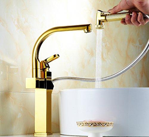 AiMi- Bassin d'or bassin robinet de cuivre chaud / froid évier robinet extension menant multifonctionnels plaqué sans plomb