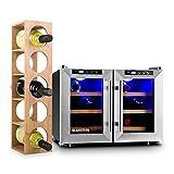 Klarstein Reserva Saloon Set vinoteca y estantería para vino (nevera de 40 litros, acero inoxidable, estantería para 5...