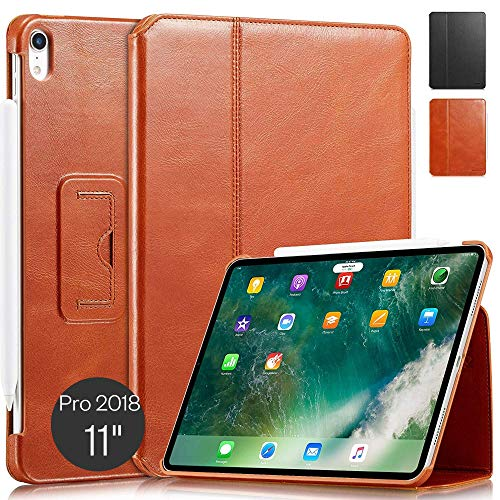 KAVAJ Case Leather Cover'Berlin' works with Apple iPad Pro 11' 2018 Cognac-Brown Genuine Cowhide Leather with Built-in Stand Auto Wake/Sleep Function. Slim Fit Smart Folio Covers
