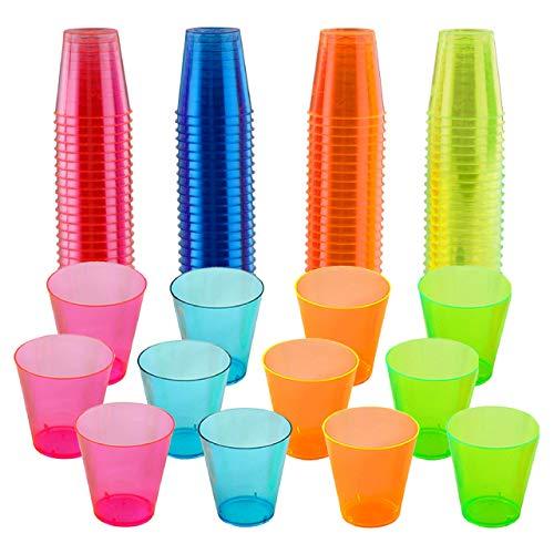 matana 300 Hartplastik Schnapsgläser, Neon Party Shotbecher, 30ml - Wiederverwendbare & Stabil - Shot Gläser aus Kunststoff.