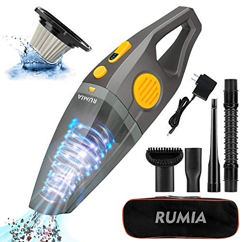 9000Pa Handheld Vacuum Cordless Cleaner,RUMIA Upgraded High Powerful Suction Vacuum Cleaner with Stainless Steel HEPA Filter,Portable Lightweight Mini Vacuum Cleaner,Two Gears,for Home Pet Hair Car
