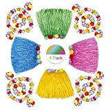 HONGXIN-SHOP Falda de Hierba Hawaiana con Elástica Flores Disfraces Guirnalda Diadema Pulsera Collar para Niñas Mujer Fiesta Hula Luau Accesorio 4 Sets