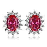 JewelryPalace Pendientes Princesa Diana William Kate Middleton Vintage Halo Oval 1.5ct Rubí Rojo Creado Piedra Preciosa Aretes Plata de ley 925