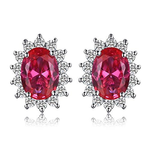 JewelryPalace Principessa Diana William Kate Middleton's 1.5ct Sintetico Rosso Rubino Stud Orecchini 925 Sterling Argento