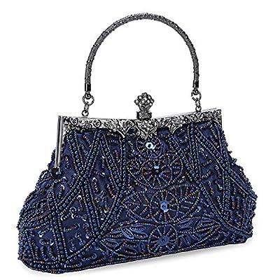 UBORSE Women's Vintage Beaded Sequined Evening Bag Wedding Party Handbag Clutch Purse
