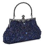 Clocolor Evening Bag and Clutches for Women Beaded Sequin Wedding Purse Party Bridal Handbag (Blue)