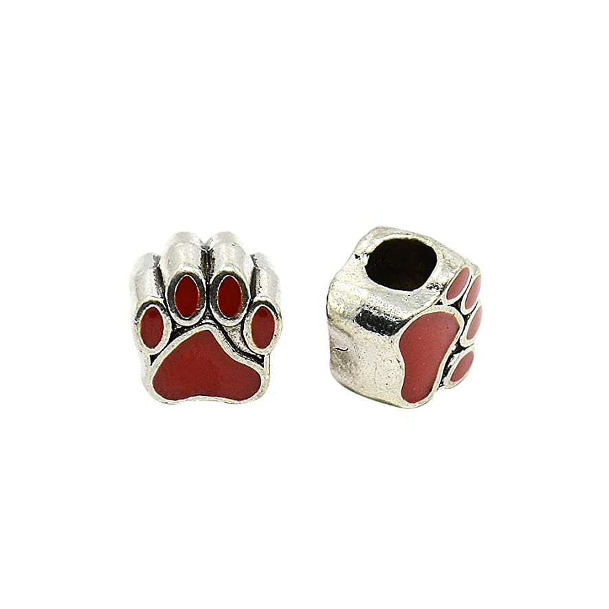 NBEADS 10 Pcs Red Dog Paw Print Alloy Enamel European Beads, Large Hole Antique Silver Tone European Charms Beads fit Bracelet Jewelry Making