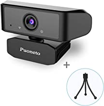 HD PC Webcam,1080P Webcam with Microphone and Tripod Plug and Play USB Webcam Streaming for Laptop Computer Web Camera with 110-Degree View Angle Desktop Webcam for Video Calling Recording