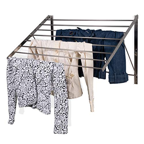 Clothes Laundry Drying Rack Heavy Duty Stainless Steel Wall Mounted Folding Adjustable Collapsible Space Saver 6.5 Yards Drying Capacity