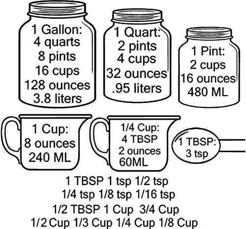 Kitchen Conversion Measuring Cups Charts by Walls with Style (BLACK)