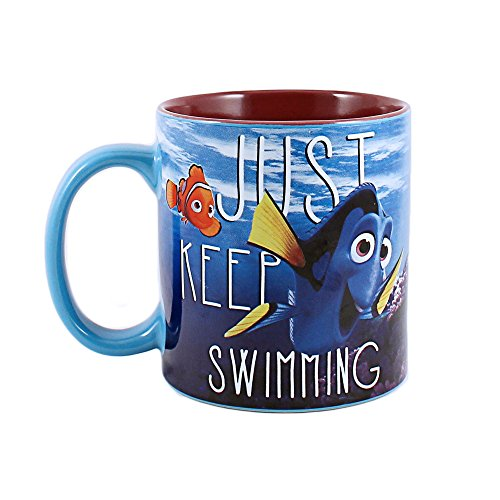 Silver Buffalo NM0132 Disney Pixar Finding Dory Just Keep Swimming Under Water Ceramic Mug, 14 oz, Multicolor