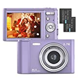 Digital Camera, FamBrow 2.7K Ultra HD 44 MP Vlogging Camera with 16X Digital Zoom,Point & Shoot Digital Camera with 2.88' LCD Screen Compact Portable Mini Camera for Beginner,Teens, Kids (Purple)