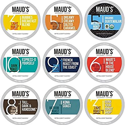 Maud's Dark Roast Coffee,100ct. Recyclable Single Serve Coffee Pods - Richly satisfying arabica beans California Roasted, k-cup compatible including 2.0