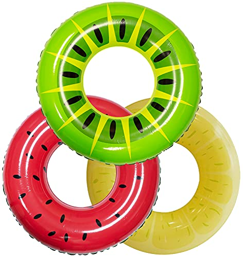 JOYIN 3 Pezzi 83 cm Salvagente Ciambella Piscina Gonfiabile Galleggiante Frutta Tubi da Piscina, Giocattoli da Piscina per Decorazioni per Feste in Piscina Vacanze Ferragosto