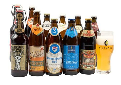 Bierwohl I Geschenkidee I Das kleine Große I Probierset verschiedener fränkischer Biere I Inklusive Verkostungsglas I 11x 0,5l