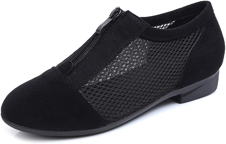 Women'S Dance shoes Mesh Sandals Flat shoes Leather Zipper Ankle Boots Breathable