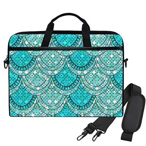 Blue Gilter Fish Scales Shiny Sequins Laptop Shoulder Messenger Bag Case Sleeve for 15.6 Inch Laptop Briefcase