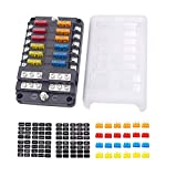12-Way Fuse Block With ground, 12 Circuit ATC/ATO Fuse Box Holder with negative bus, Prote...