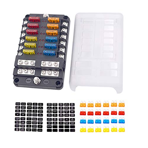 12-Way Fuse Block With ground, 12 Circuit ATC/ATO Fuse Box Holder with negative bus, Protection Cover & LED Light Indication, Bolt Terminals, 70 pcs Stick Label, For Auto Marine, Boat,With 24 pcs Fuse