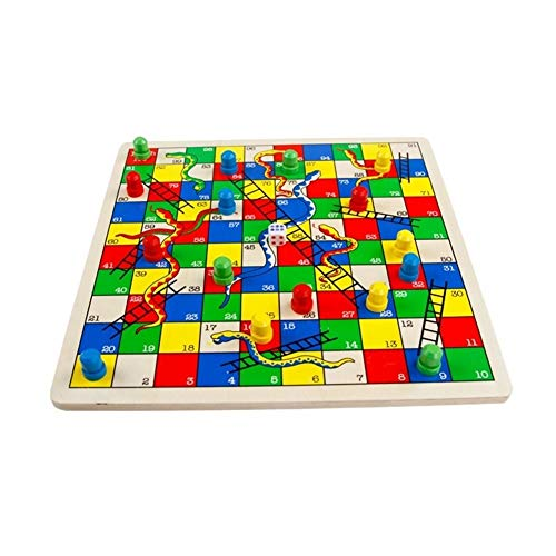 Houten Classic Snakes and Ladders Board Game Traditionele kinderen leuk spel for kinderen peuters