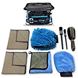 Sudz Budz Premium Microfiber Car Wash Kit 8pcs | Multipurpose Car Wash Mitts, Microfiber Towel Set, Wheel Brush, Car Detailing Brush Set. Auto Detailing Supplies for Exterior Washing Interior Cleaning