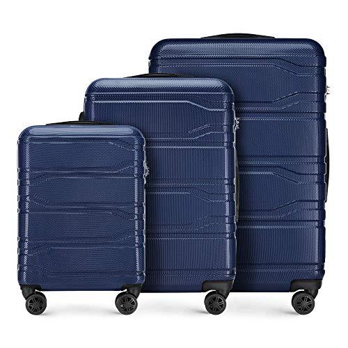 WITTCHEN Koffer – Set of 3   hartschalen, Material: polycarbonat   hochwertiger und Stabiler   Marineblau   Verschiedene Größen