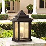 "Hickory Point Asian Outdoor Light Fixture Bronze 16.5"" Textured Glass for Exterior House Porch Patio - Franklin Iron Works"
