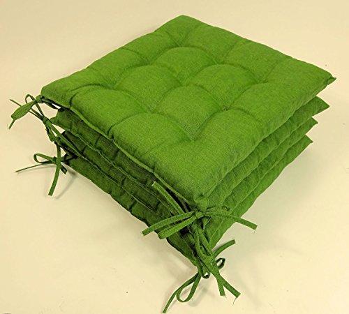 Rattani - Set 4 x Stuhlkissen/Sitzkissen Fabia mit Schleifen 40 x 40 cm Dicke 5 cm, Fb. dunkelgrün, Baumwolle/Polyester 80/20% - Made in EU