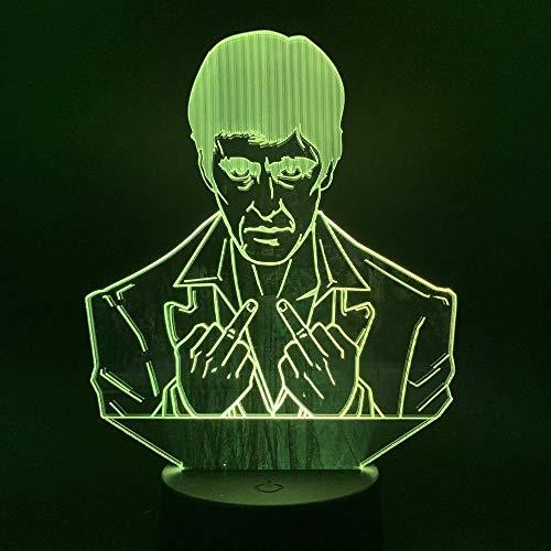 Luz de la noche LED Hombre de la Lámpara 3D de la Lámpara Visual Efecto de Luz de la Noche de la Luz de la Noche Cambio de Color Brillante de las Luces de Noche Táctil