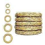 DekoPrinz Coronas de Paja, 5 Piezas | Diámetro de 25 cm, Grueso de 4 cm Corona de decoraciónde, decoraciónde Navidad, Corona de Paja para la personalización
