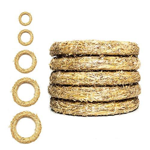 DekoPrinz® Strohkränze, 5 Stück | ø 25 cm Durchmesser | 4 cm Stärke | Strohrömer, Türkranz, Deko-Kranz, Kranz-Rohling, Strohring