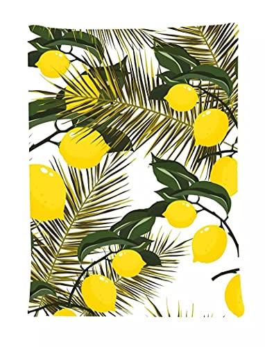 Tapiz de flor de fruta de limón tapiz de hojas de árbol de limón patrón artístico tapices para colgar en la pared para sala de estar 180X230CM