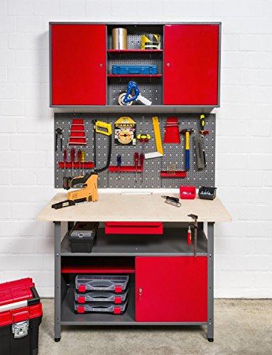 Große Werkstatteinrichtung bestehend aus 2 Werkbänken, 2 Metallschränken und 2 Euro-Lochwänden – individuell kombinierbar - 2