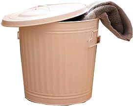 ZXHDND Wrought Iron Storage Basket Trash Can Hamper With Lid Living Storage Basket, White