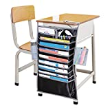 Heavy-Duty Oxford Large 14 Pockets Desk Mount Hanging Caddy Organizer Students Classroom Book File Pens Holder Water Bottle Cellphone Pouch Stationery Storage Bag Office Furniture Bookcase Shelf Rack