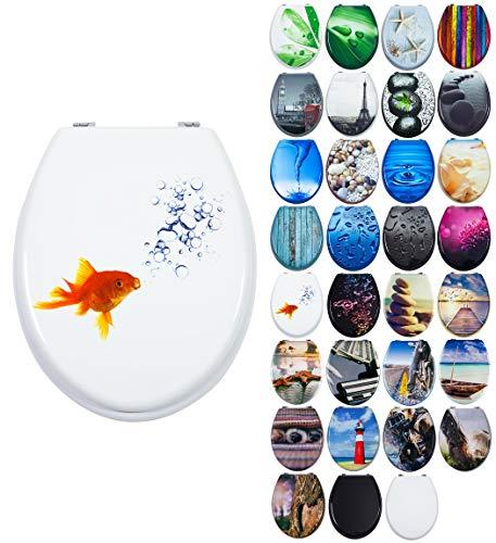 Grafner MDF WC Sitz mit Absenkautomatik viele schöne Motive zur Auswahl - stabile Qualität - einfache Montage WC Deckel Klobrille Softclose (Bubble Fish)