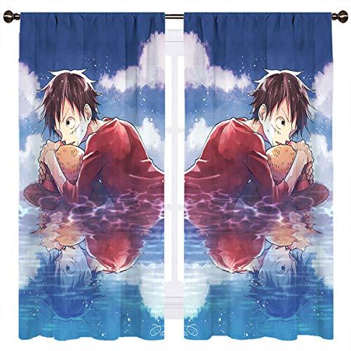 SSKJTC Papel pintado de una pieza Coon Anime Cielo Azul Nube Blanca Cortinas Aislantes Térmicos Cortinas Blackout Cortinas Aislamiento Térmico Habitación W140xL115cm
